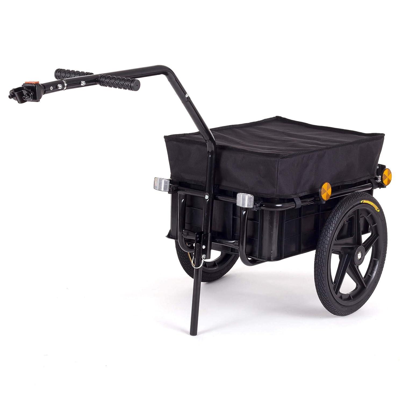 SAMAX Rimorchio per Bicicletta con Ruote Bici Carrello Rimorchio per bagaglio Trasporto Carico Carello Carretto 60 Kg 70L in Rosso - disponibile in altri colori
