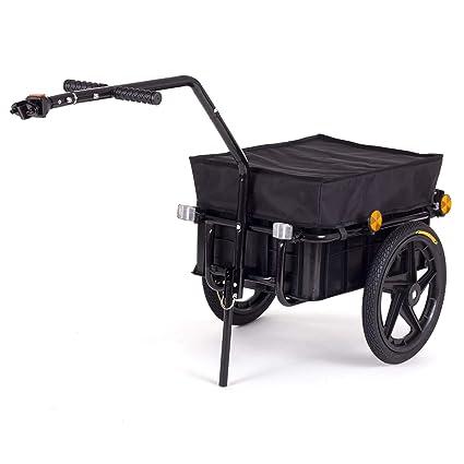 SAMAX Remolque de Bici Bicicleta Cesta extraible Rueda Neumaticos Remolque de transporte para Carga 60 kg