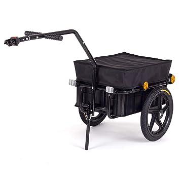 SAMAX Remolque de Bici Bicicleta Cesta extraible Rueda Neumaticos Remolque de transporte para Carga 60 kg / 70L en Negro - varios colores disponibles: ...