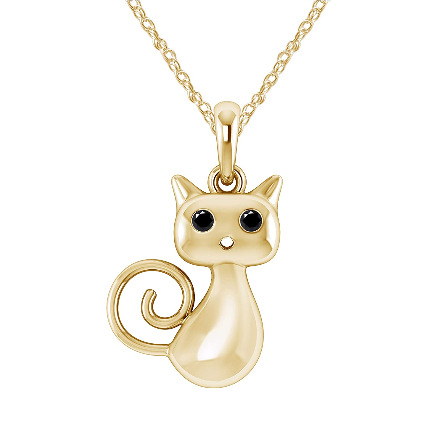 Pretty Jewels 0.05 Ct Black Real Diamond in 14K Yellow Gold Fn 925 Sterling Silver Curly-Tail Kitty Pendant Necklace
