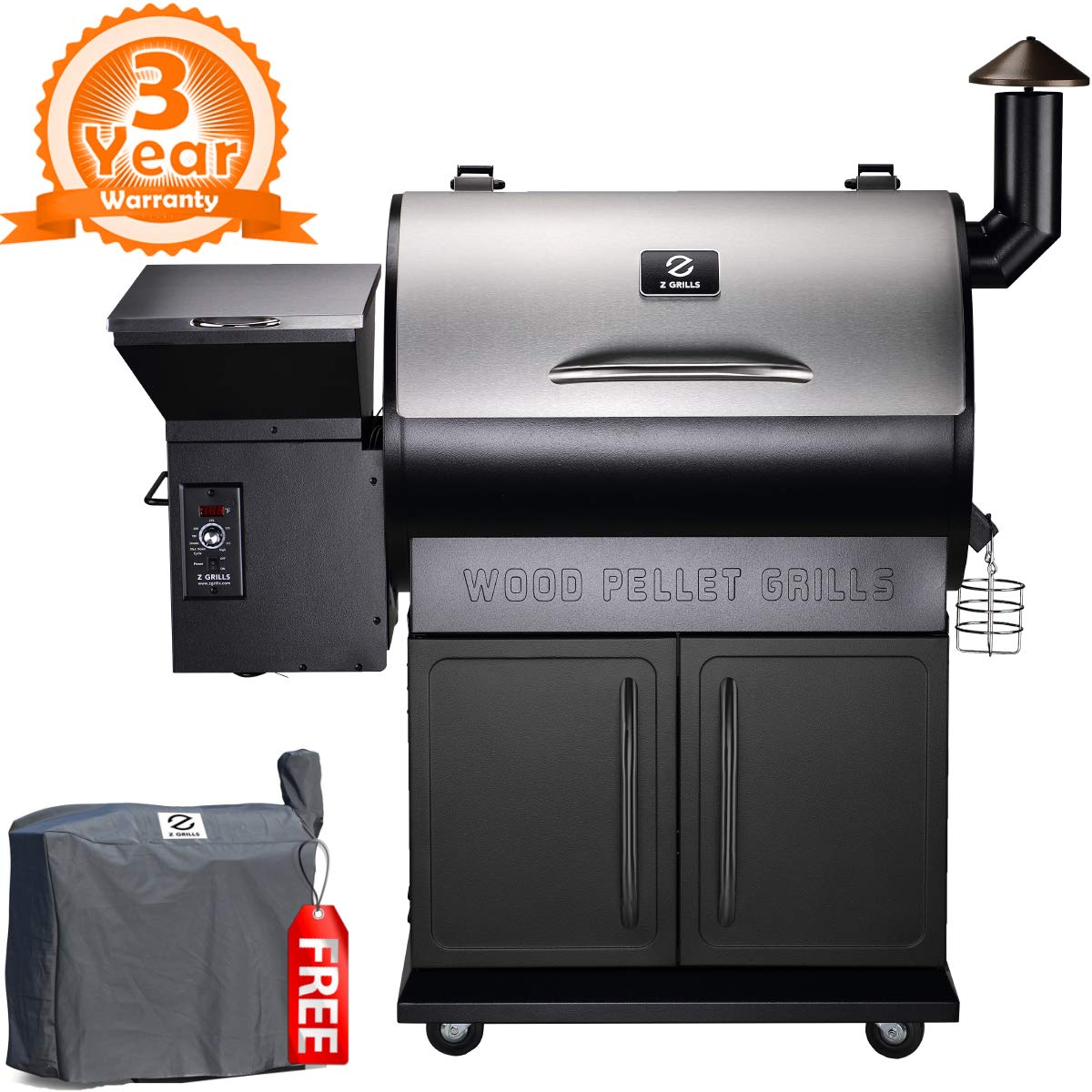 Z Grills ZPG-700E 2019 New Model Wood Pellet Grill & Smoker, 8 in 1 BBQ Grill Auto Temperature Control 700 sq inch Cooking Area Silver & Black Cover Included