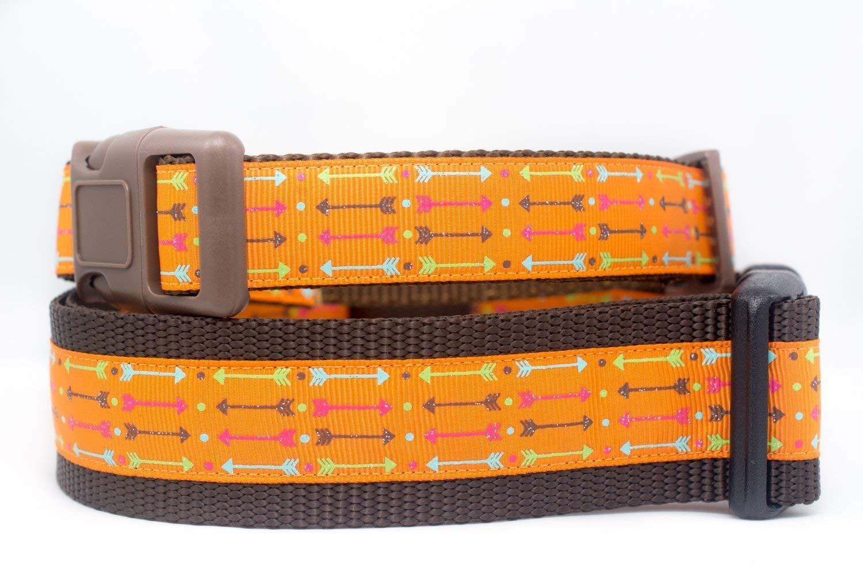 Adjustable Orange Pet Collar Glitter Arrow Dog Collar Boho Chic Tribal