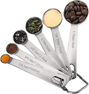 Measuring Spoons, Premium Heavy Duty 18/8 Stainless Steel Measuring Spoons Cups Set, Small Tablespoon with Metric and US Measurements , Set of 6 for Gift Measuring Dry and Liquid Ingredients
