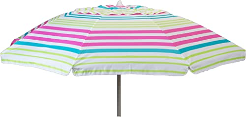 Heininger 1374 DestinationGear Pink Stripe 7 feet Beach Umbrella with Tilt and Travel Bag