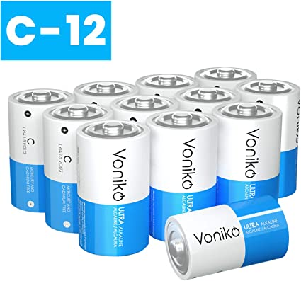 12 Count High Performance C Cell Alkaline Battery 12 Pack IMPECCA C Batteries 1.5 Volt LR14 Size C Alkaline Batteries for Everyday Use