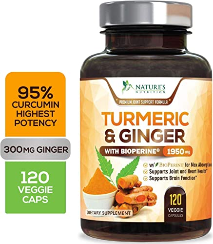 Turmeric Curcumin 95 Curcuminoids with BioPerine and Ginger 1950mg – Black Pepper for Best Absorption, Made in USA, Natural Immune Support, Turmeric Ginger Supplement Pills – 120 Capsules