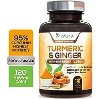 Turmeric Curcumin 95% Curcuminoids with BioPerine and Ginger 1950mg - Black Pepper...