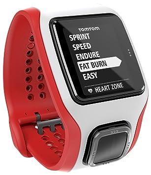 TomTom Runner Cardio - Reloj GPS para running, color blanco/rojo, talla M