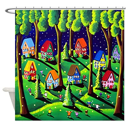 Image Unavailable Not Available For Color CafePress Kids Catch Fireflies Folk Art Shower Curtain