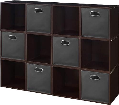 Niche Cubo Storage Set with Folding Canvas Bins 12 Cubes 6, Truffle Grey