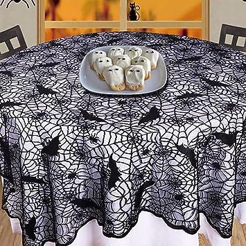 Surfmall Halloween Deko Tisch Spinnennetz Runde Tischdecke Tischdeko