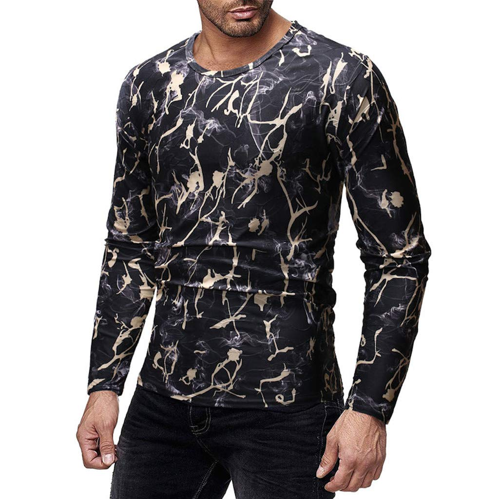 Men O-Neck Printed Blouse,Long Sleeve Shirt Pullover Top Casual Blouse,SUNSEE Teen New by Sunsee (Image #1)