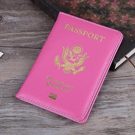 Protecteur de Passeport de Voyage Couverture Portefeuille en Cuir Organisateur Titulaire de la Carte Porte American Cover ruiruiNIE Titulaire de Passeport pour Hommes et Femmes