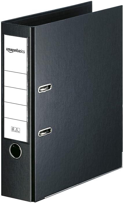 Oferta amazon: AmazonBasics - Archivador de palanca, cubierta de PP, lomo con bolsillo, Certificación FSC, A4, lomo de 80 mm de ancho, negro