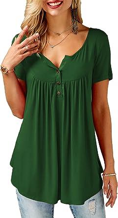 noabat Camisas Casual Verde para Mujer Blusa con Botón Vneck Manga Corta Mediana: Amazon.es: Ropa y accesorios