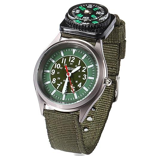 Caja de regalo de Nylon BlueVega de campo de los relojes de los hombres de la aventura de la venda del reloj de pulsera-verde del ejército: Amazon.es: ...