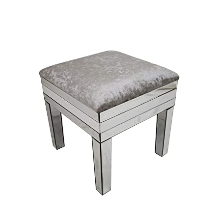 Outstanding Slate Rose Amelia Mirrored Crushed Velvet Dressing Stool Uwap Interior Chair Design Uwaporg