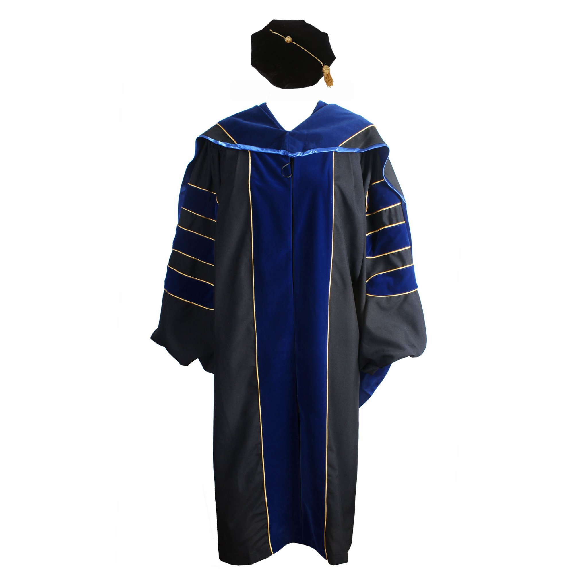 GraduationService Deluxe Doctoral Graduation Gown,Hood and Tam Package Unisex