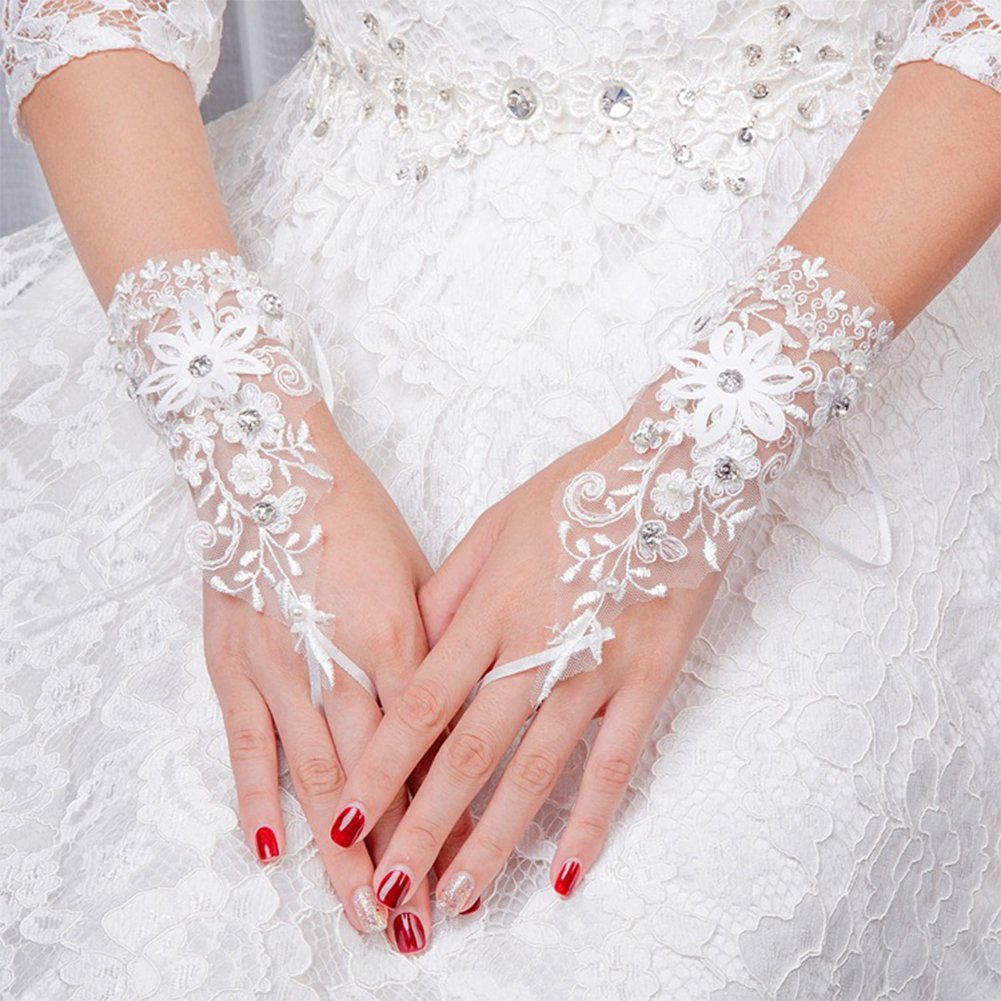 Womens Girls Bridal Gloves Crystals Flower Lace Fingerless Gloves for Wedding Party Prom Brides Accessory