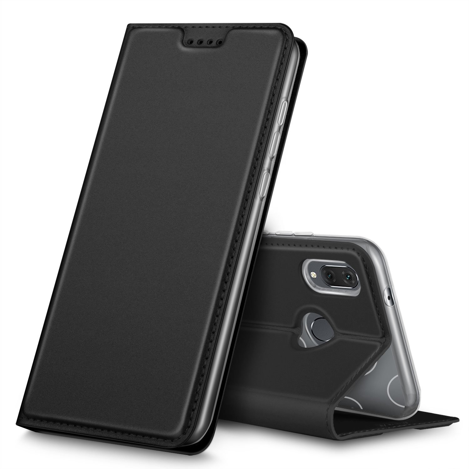 Huawei P20 lite Cover, iBetter Huawei P20 lite protective case, Function Stand, closed magnetic protective cover for Huawei P20 lite smartphone.Flip Series - Black