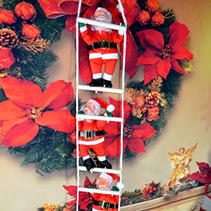bornbayb christmas santa claus climbing on rope ladder christmas tree indoor outdoor hanging ornament decoration - Christmas Ladder Decor