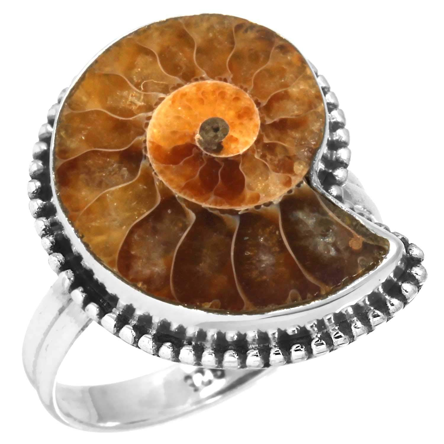 Solid 925 Sterling Silver Jewelry Natural Ammonite Brown Fossil Gemstone Ring