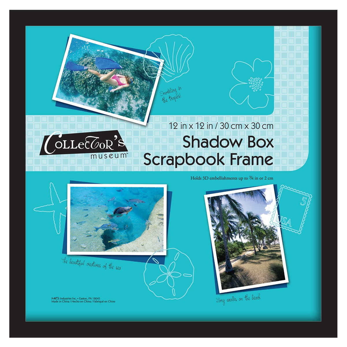 MCS 12.75x12.75 Inch Shadow Box Frame Holds 12x12 Inch Scrapbook Page, Black (40950) MCS Industries Inc.