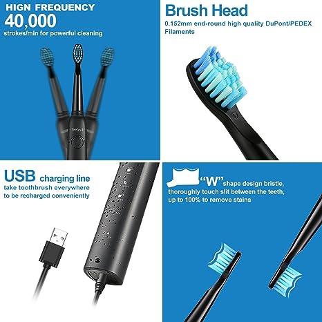 Cepillo de dientes eléctrico sónico, tiene cinco modos inteligentes opcionales y impermeabilidad IPX7, viene con dos cabezales de repuesto para el cepillo .
