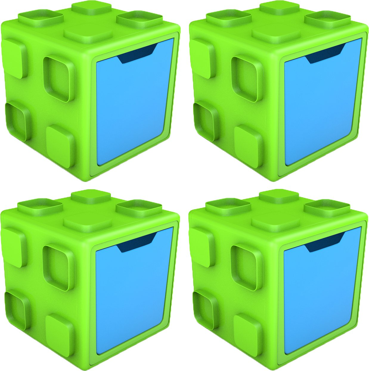 Chillafish BOX: Connectable Toy Storage and Play System, Lime/Blue, 4 Pack