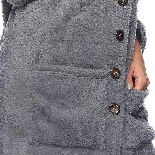 LANSKIRT_Ropa de mujer de Lana Cascada Abrigo de la Chaqueta Cárdigan de Mujer Blusa de Outwear Otoño e Invierno Caliente de la Capa de Felpa: Amazon.es: ...