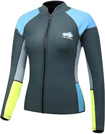 cc0fa5e0466 Lemorecn Women s 1.5mm Wetsuits Jacket Long Sleeve Neoprene Wetsuits Top