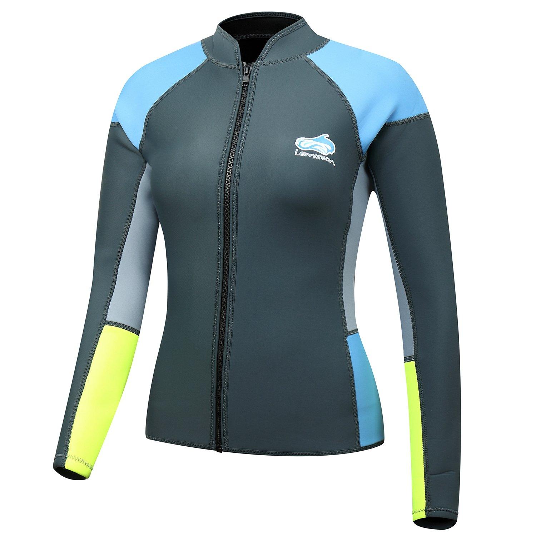 Lemorecn Women's 1.5mm Wetsuits Jacket Long Sleeve Neoprene Wetsuits Top (2047G4)