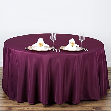 BalsaCircle 108 Inch Eggplant Purple Round Polyester Tablecloth Table Cover  Linens Wedding Party Events Kitchen