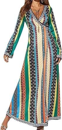 DressUWomen Vestido de cóctel oscilación floral africana dashiki cuello en v manga larga para Mujers