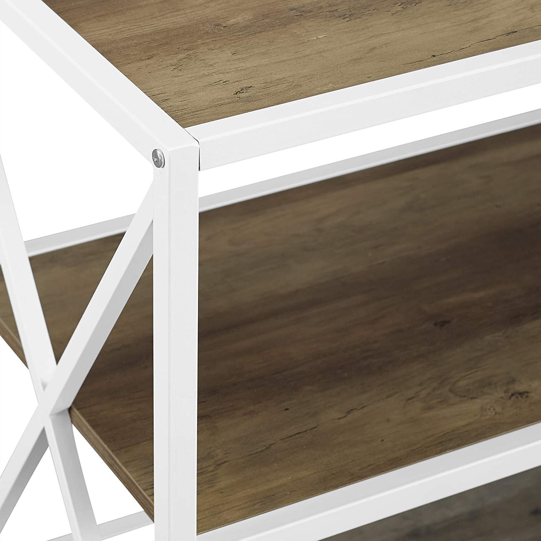 Dark Walnut Walker Edison 60 X-Frame Metal and Wood Console Table