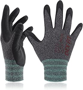 DEX FIT Nitrile Work Gloves FN330, 3D Comfort Stretch Fit, Power Grip, Smart Touch, Durable Foam Coated, Thin & Lightweight, Machine Washable, Black Gray Small 12 Pairs