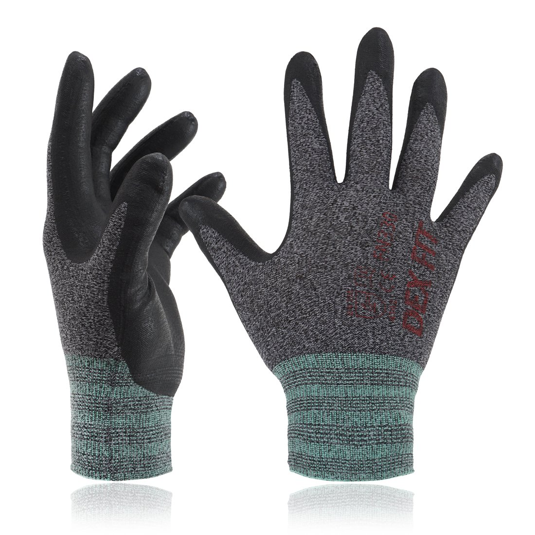 DEX FIT Black Nylon Work Gloves FN320, 3D Comfort Stretch Fit, Power Grip, Thin Lightweight, Durable Nitrile Foam Coating, Machine Washable, X-Small 3 Pairs Pack MUVEEN CO. LTD FN 330