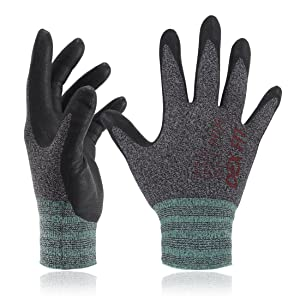 DEX FIT Lightweight Nitrile Work Gloves FN330, 3D Comfort Stretch Fit, Durable Power Grip Foam Coated, Smart Touch, Thin Machine Washable, Black Grey Medium 3 Pairs Pack