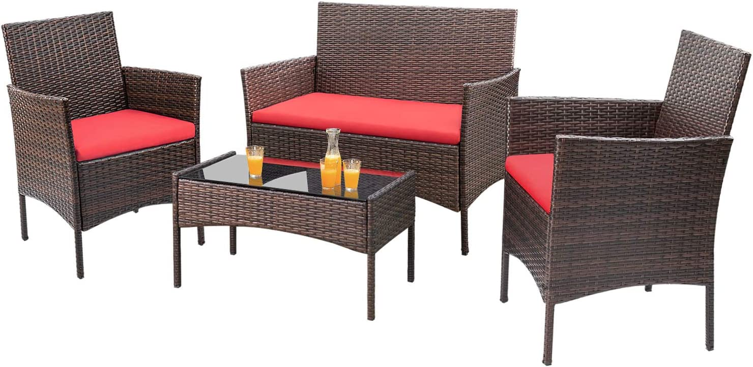 Homall 4 Pieces Outdoor Patio Furniture Sets Rattan Chair Wicker Set, Outdoor Indoor Use Backyard Porch Garden Poolside Balcony Furniture Sets Clearance (Red)