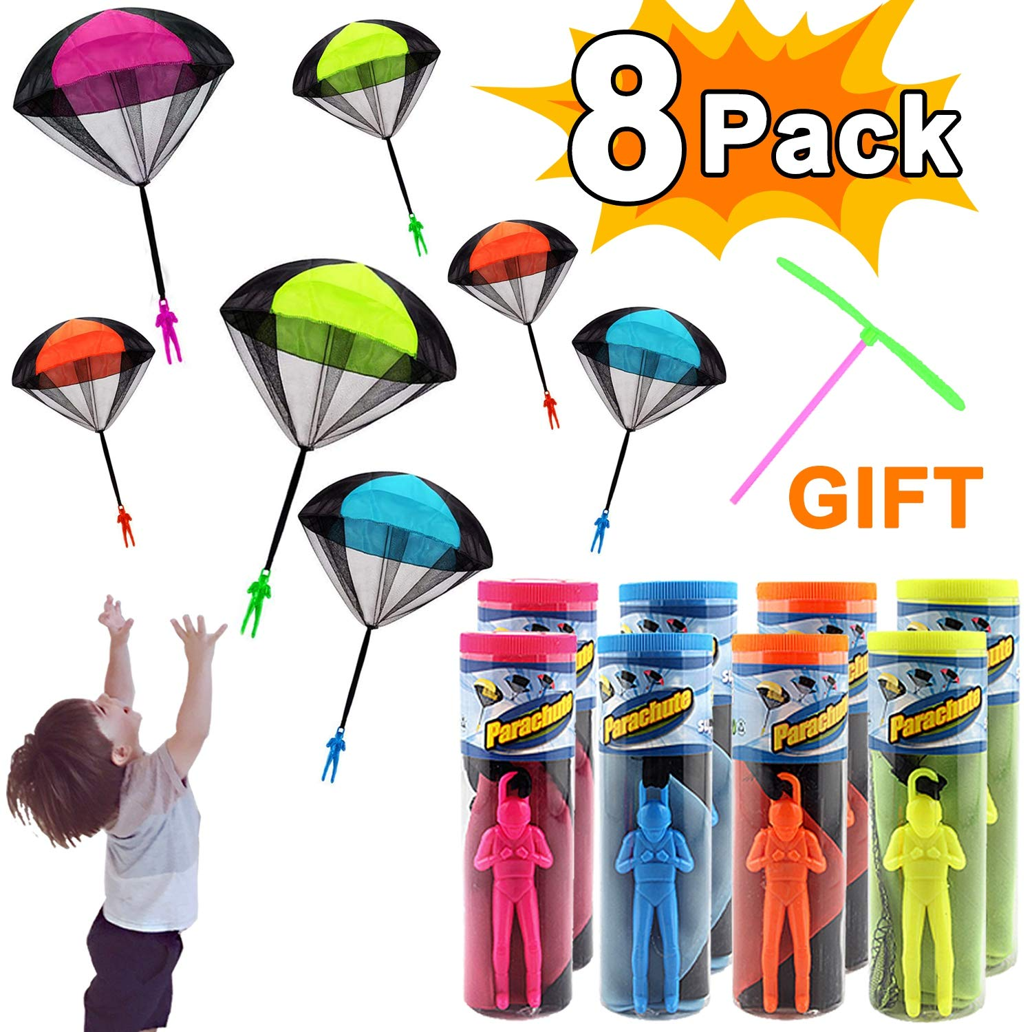 Parachute Toys, 8 Pack Parachute Toys for Kids Tangle Free Throwing Toys Parachute Outdoor Children's Flying Toys with 1 Free Plastic Dragonfly Kids Boys Girls Adults Back to School Gifts