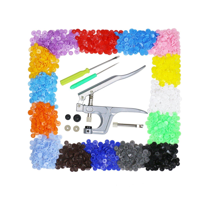 Aoafun Alambre Snap de  Set T Botones de plástico Fastener colores