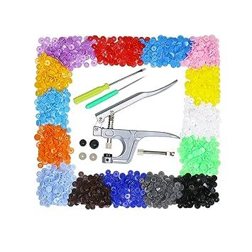 Aoafun Alambre Snap de + 300 Set T5 Botones de plástico Fastener 15 colores Poppers para DIY Studs