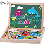 MOVEONSTEP Puzzle Magnetico Legno Giocattolo in Legno 135 pcs Giochi Educativi Doppio Lato Lavagna Magnetica per Bambini 3+ --Vita marina + Alfabeto + Numeri