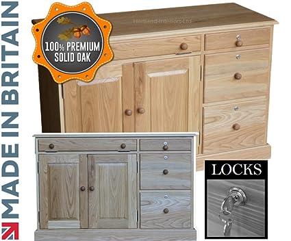100% mueble aparador con madera de roble; Diseño de Luca Johnson UK oficina cocina