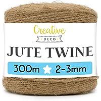 Creative Deco 300m Jute Koord Natuurlijk | 985 Voet | 2-3 mm Dikte 3-Lagige Hennep Koord Jute Tape Pakketrol Bruin Sterk…