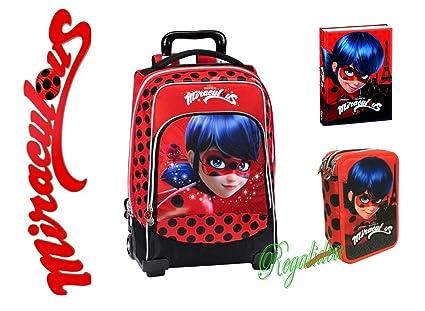 Mochila escolar Miraculous Ladybug + estuche + diario + colgante de regalo