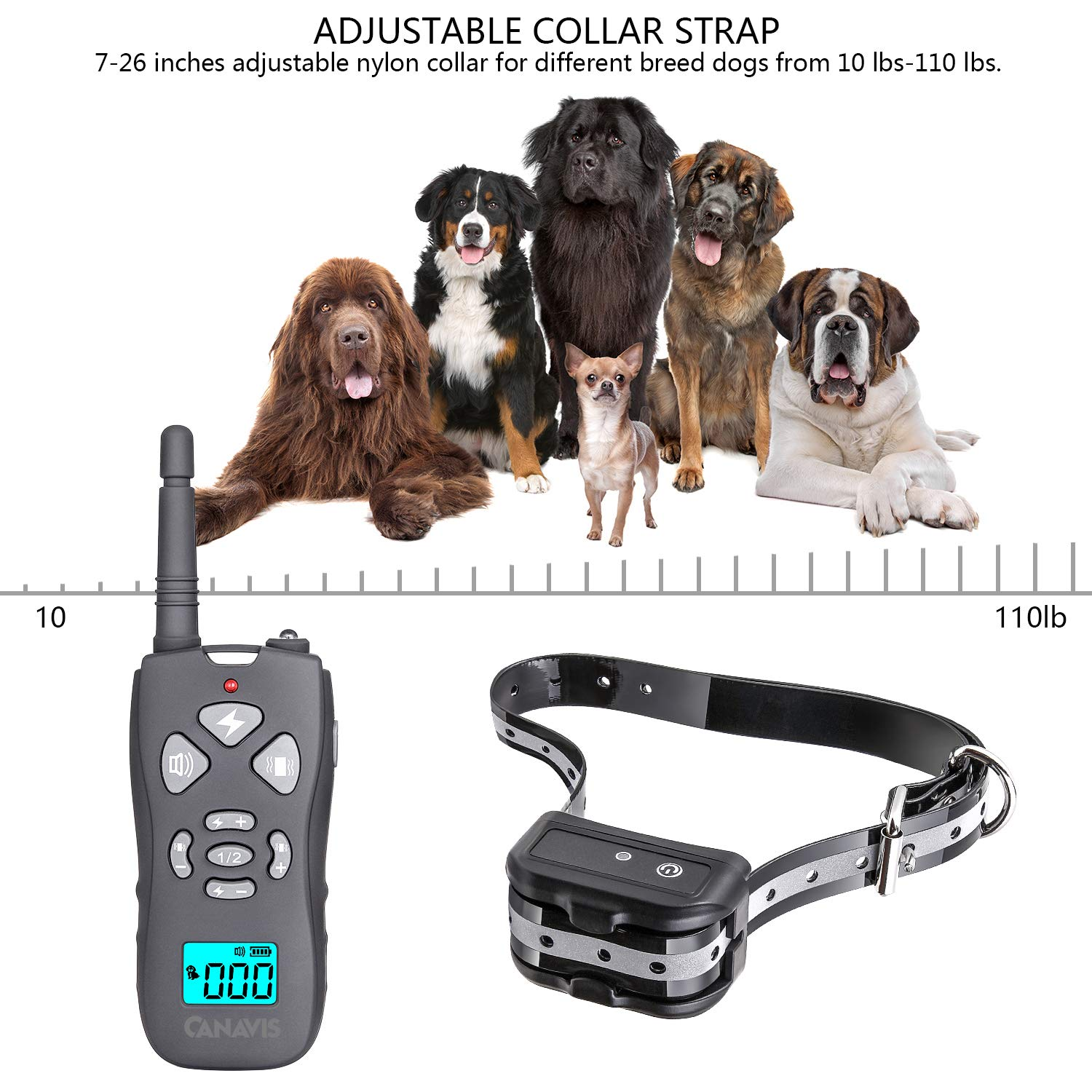 CANAVIS Dog Shock Collar with 1800Ft Remote, Waterproof Dog Training Collar, Rechargeable Electronic Collar with Vibration Tone Shock Modes, Adjustable Collar Strap for Small Medium Large Dog by CANAVIS (Image #4)