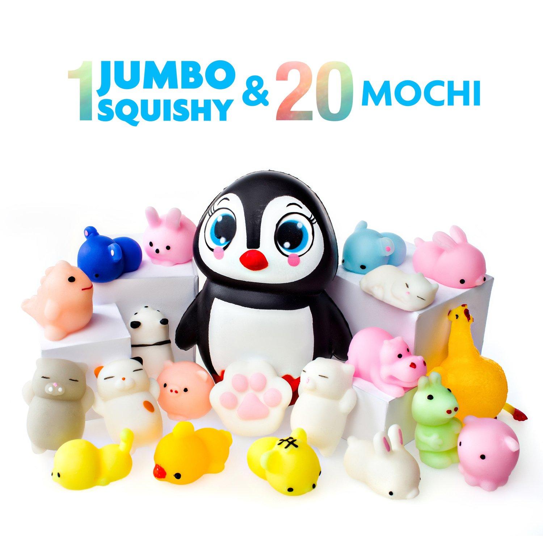 Mochi Squishy Spielzeug - 20er Pack Squishies plus 1 Jumbo Squishie - Sanft ansteigende Pinguin Squishy - Mochi Squishy Tiere, Katze, Panda - Kawaii Squishys Jumbo - Schlüsselanhänger Squishys LAEGENDARY