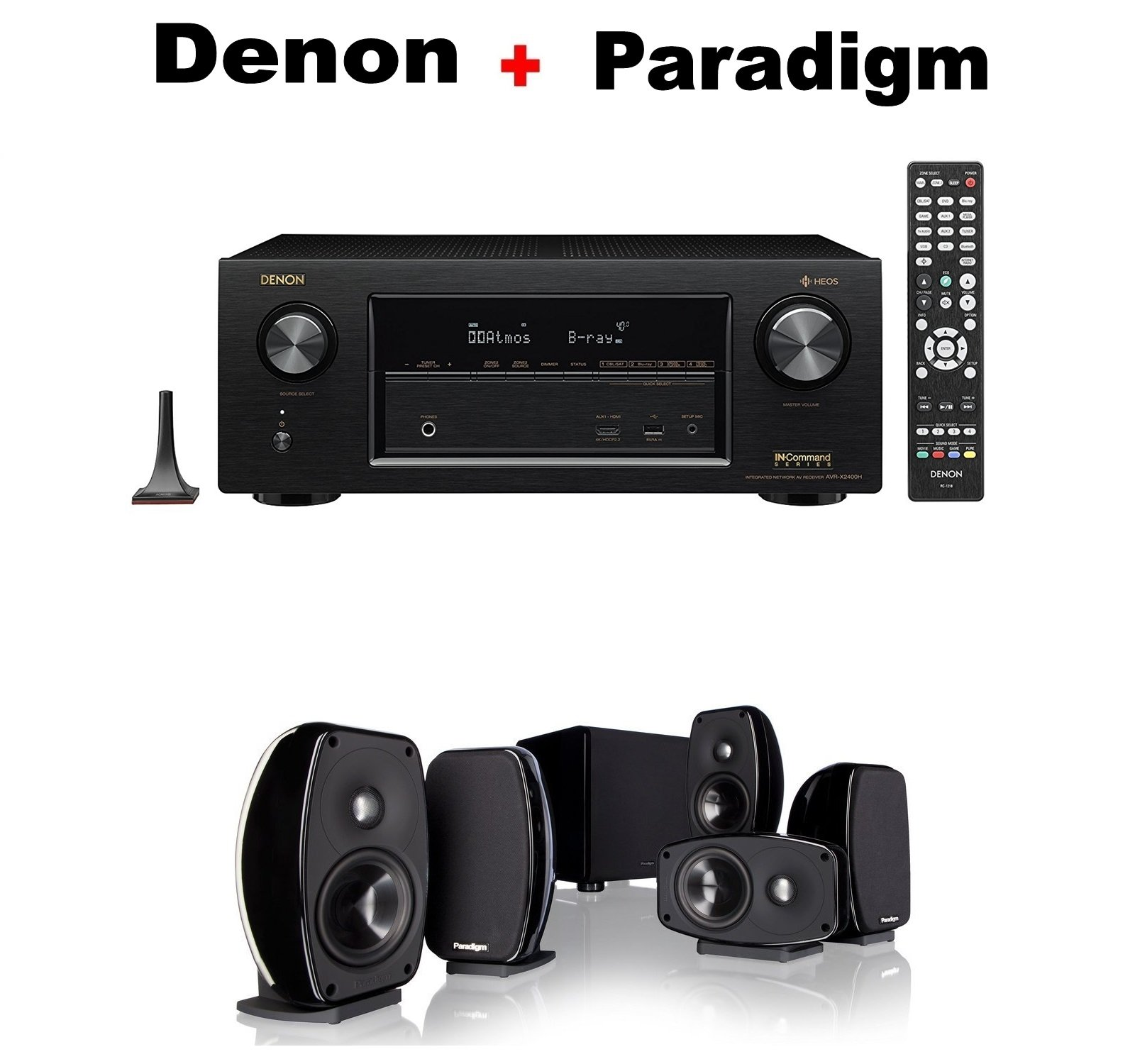 Denon AVR-X3400H 7.2 Channel Full 4K Ultra HD AV Receiver with Wi-Fi, Dolby Atmos, DTS:X, and HEOS + Paradigm Cinema 100 CT 5.1 Home Theater System Bundle