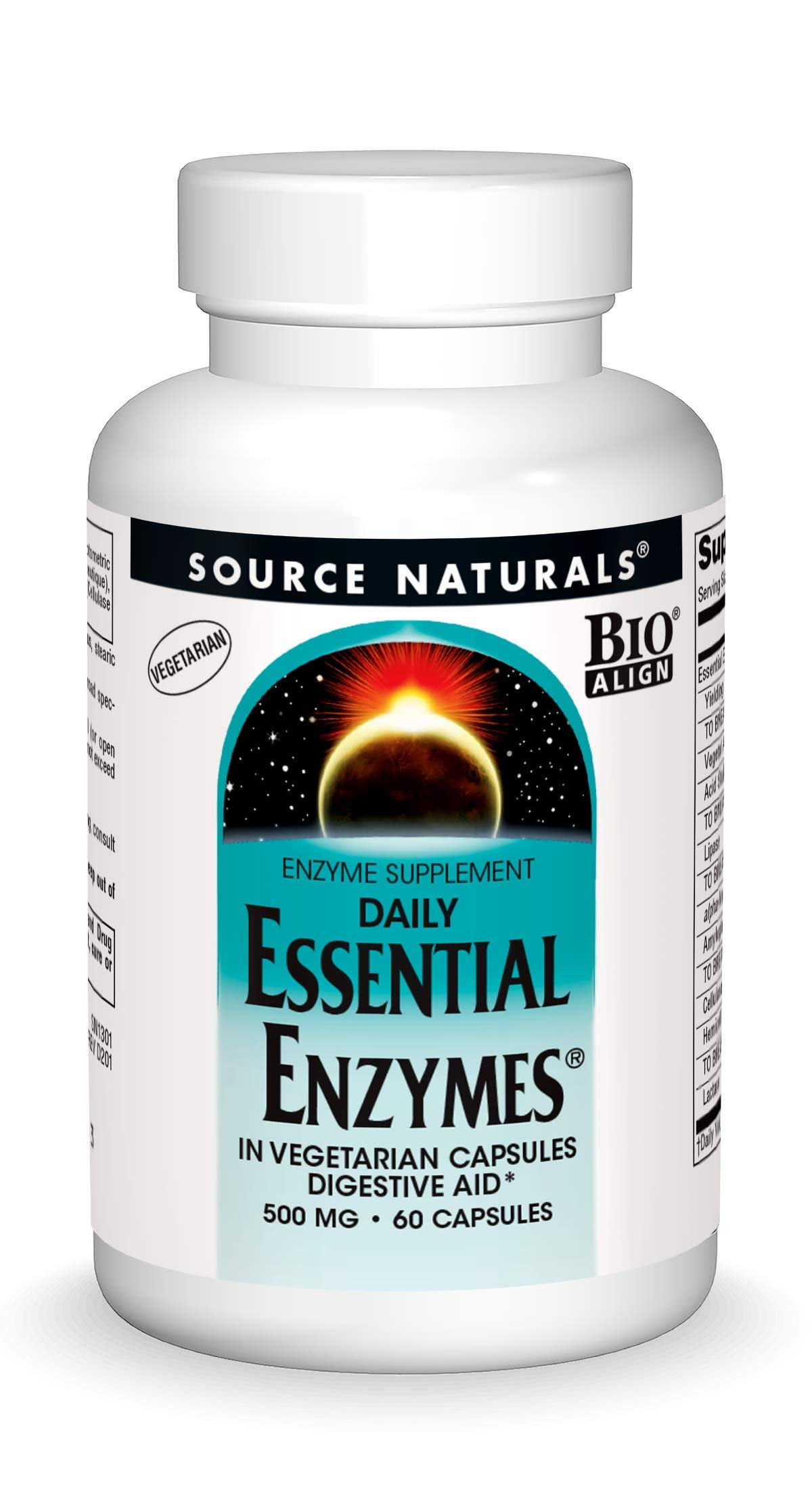 Source Naturals Essential Enzymes 500mg Bio-Aligned Multiple Enzyme Supplement Herbal Defense for Digestion, Gas, Constipation & Bloating Relief - Supports Immune System - 60 Vegetarian Capsules